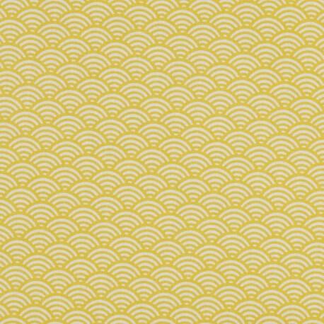 Tissu coton cretonne vague japonaise - Jaune