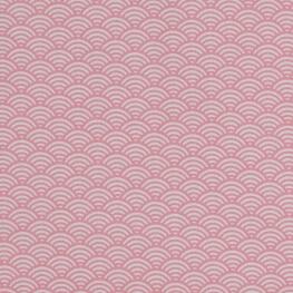 Tissu coton cretonne vague japonaise - Rose