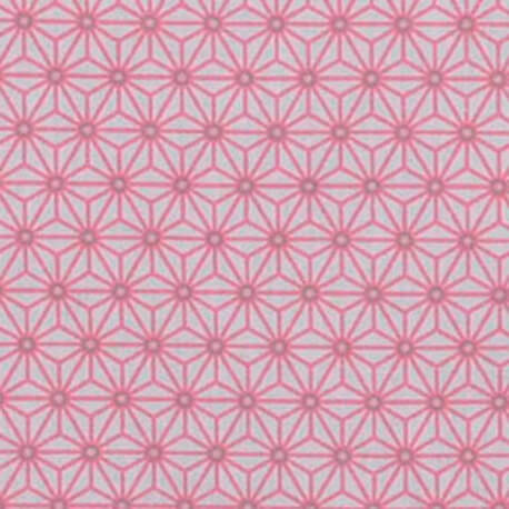 Tissu coton cretonne étoiles asanoha - Ivoire & rose