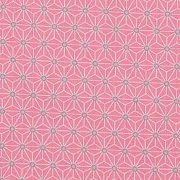 Tissu coton cretonne étoiles asanoha - Rose & ivoire