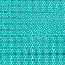 Tissu coton cretonne étoiles asanoha - Vert aqua & ivoire