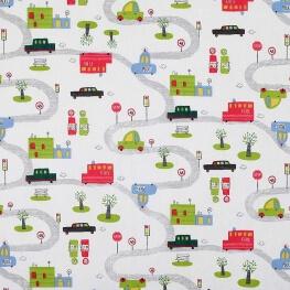 Tissu coton route petites voitures