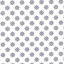 Tissu coton barre de navire rétro - Blanc