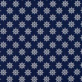 Tissu coton barre de navire rétro - Bleu marine