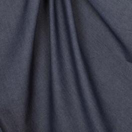 Tissu chambray uni pur coton - Bleu marine