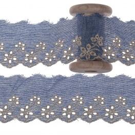 Broderie anglaise fleurie au mètre - Bleu clair
