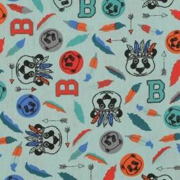 Tissu coton panda & plumes - Vert d'eau