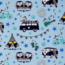Tissu coton combi VW & surf - Bleu