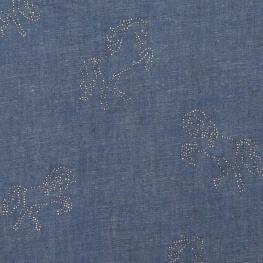 Tissu chambray coton & strass cheval - Bleu & argent
