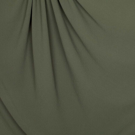Tissu crêpe stretch uni - Vert kaki