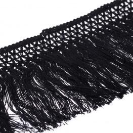 Ruban frange coton 10cm - Noir