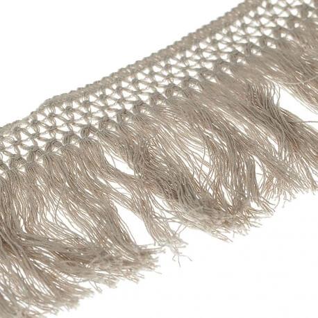 Ruban frange coton 10cm - Naturel