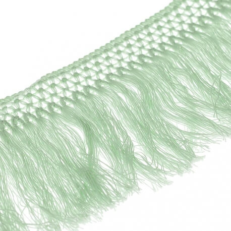 Ruban frange coton 10cm - Vert