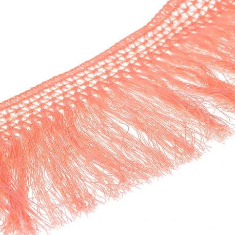 Ruban frange coton 10cm - Corail