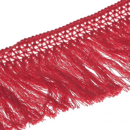 Ruban frange coton 10cm - Rouge