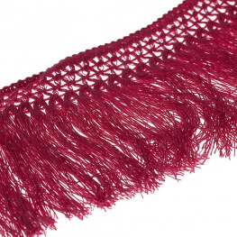Ruban frange coton 10cm - Rose framboise