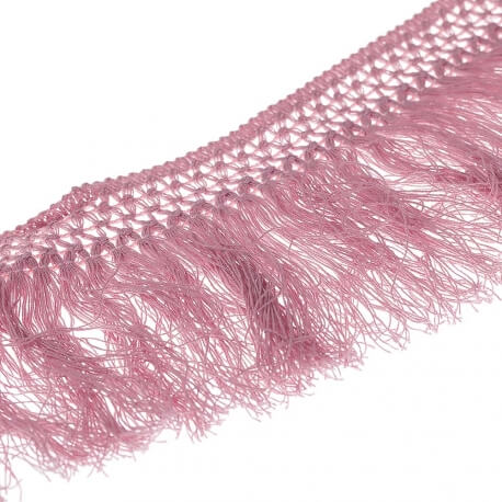 Ruban frange coton 10cm - Vieux rose
