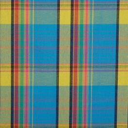 Tissu madras - Bleu, jaune