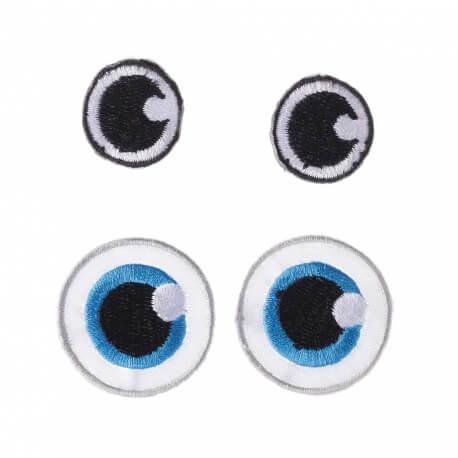 Ecussons yeux noir & bleu - 2 paires
