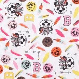 Tissu coton pandas & plumes - Blanc