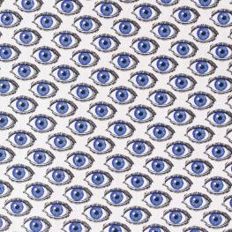 Tissu coton cretonne oeil gravure - Bleu