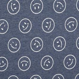 Tissu sweat smiley & envers minky - Bleu & blanc