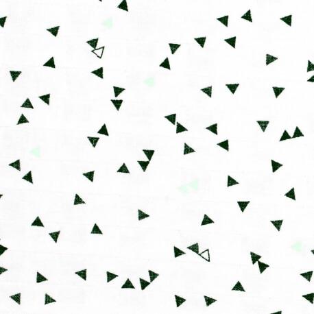 Tissu lange 100% coton triangle - Vert menthe, noir & blanc
