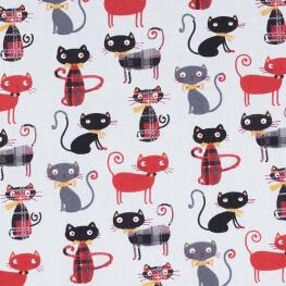 Tissu coton cretonne chat lord - Rouge & noir
