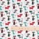 Tissu coton cretonne chat lord - Vert & bordeaux