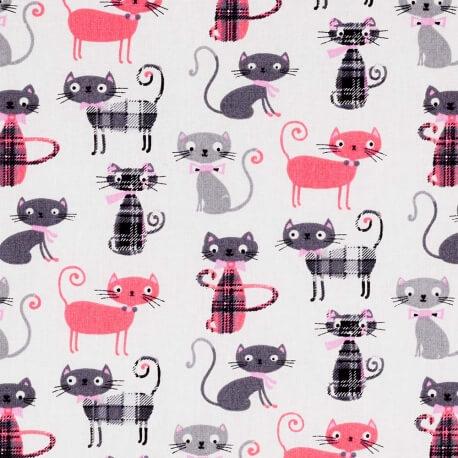 Tissu coton cretonne chat lord - Rose & gris