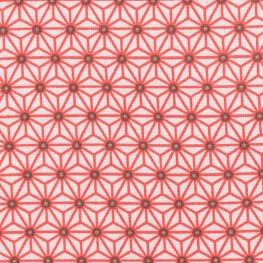 Tissu coton cretonne étoiles asanoha - Blanc & rouge