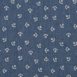 Tissu chambray coton ancres - Bleu moyen