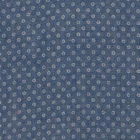 Tissu chambray coton rond cible - Bleu moyen