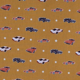 Tissu coton american car - Moutarde