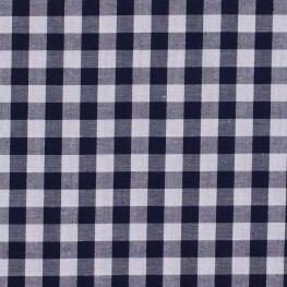 Tissu gros vichy bleu marine & blanc