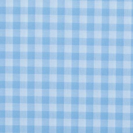 Tissu gros vichy bleu ciel & blanc