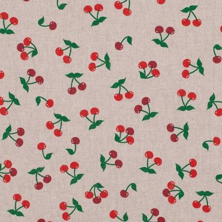 Tissu toile coton cerises - Rouge & vert