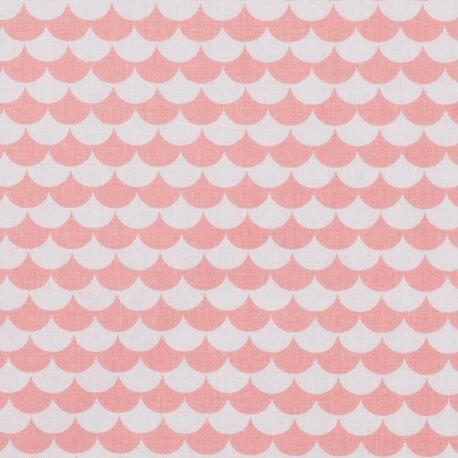 Tissu coton fantaisie écaille - Doux corail