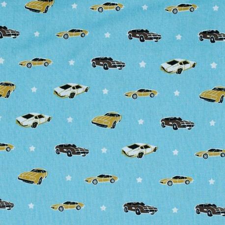 Tissu coton american car - Bleu