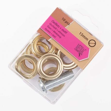 Boîte de 10 oeillets 15mm + outil de pose - Or