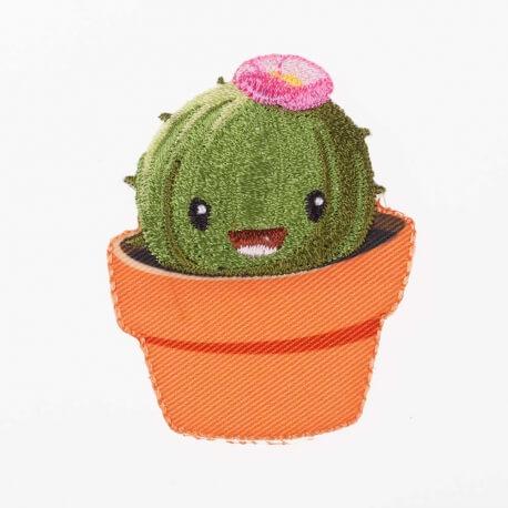 Ecusson happy cactus fleuri