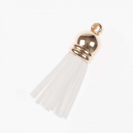 Petit pompon suédine - Or & blanc
