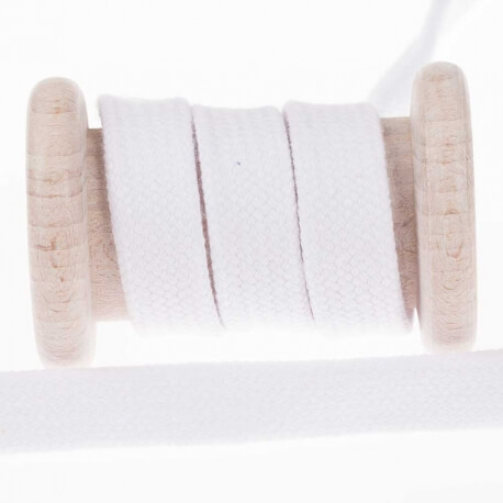 Cordon plat tressé 15mm - Blanc
