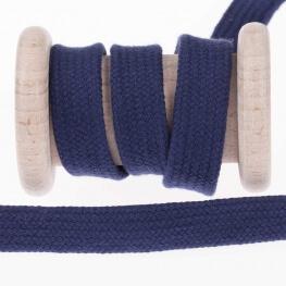Cordon plat tressé 15mm - Bleu marine
