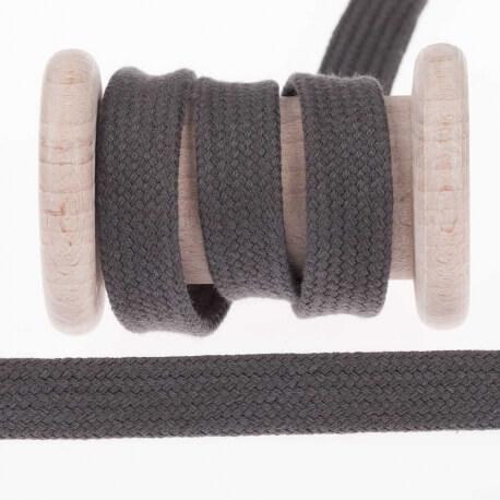 Cordon plat tressé 15mm - Gris anthracite