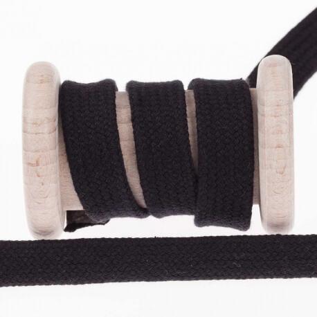 Cordon plat tressé 15mm - Noir