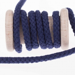 Cordon tresse 7mm - Bleu marine