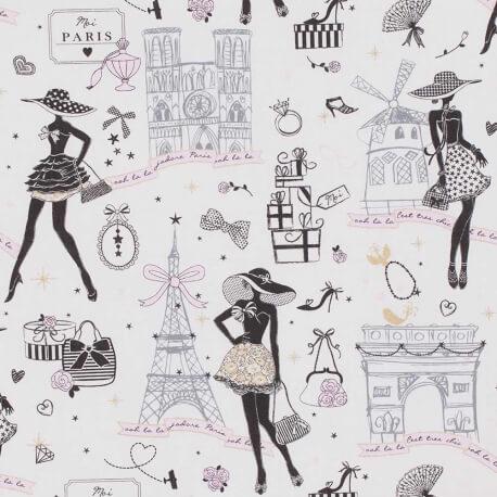 Tissu coton Moi Paris - Noir, rose & doré