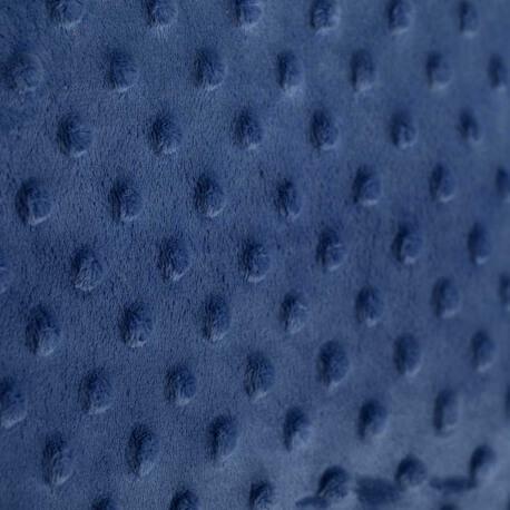 Tissu minky à pois  - Bleu marine