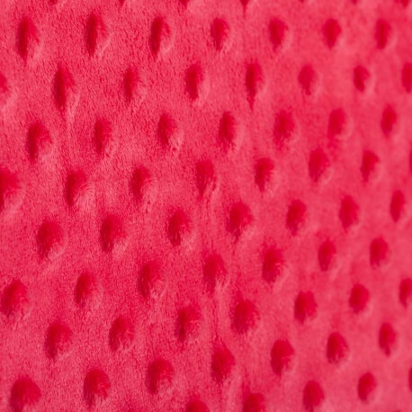 Tissu minky à pois  - Rouge